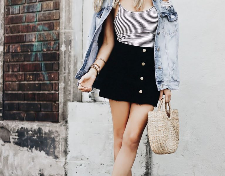 outfit inspiration of a denim jacket, bodysuit, basket bag and mules