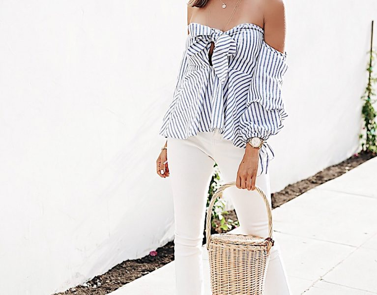 Off-Shoulder Stripe Blouse With White Denim